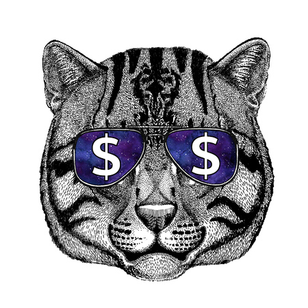 silueta de gato: Wild cat Fishing cat wearing glasses with dollar sign Illustration with wild animal for t-shirt, tattoo sketch, patch