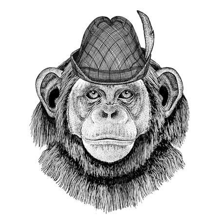 Chimpansee Aap Wild dier met tirolpet Oktoberfest herfstfestival Bierfeest illustratie Beiers bierfestival
