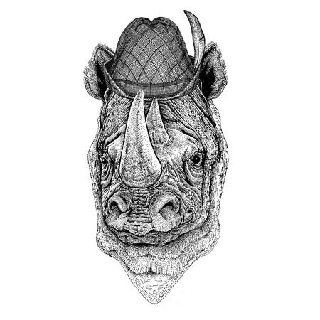 Rhinoceros, rhino Wild animal wearing tirol hat Oktoberfest autumn festival Beer fest illustration Bavarian beer festival Stock Photo