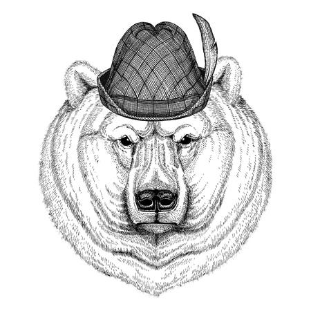 Polar bear Wild animal wearing tirol hat Oktoberfest autumn festival Beer fest illustration Bavarian beer festival