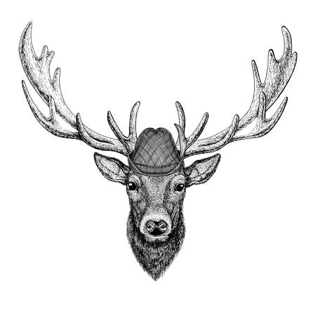사슴 tirol 모자를 착용하는 야생 동물 옥 토 버 페스트 가을 축제 맥주 축제 그림 바바리아 맥주 축제