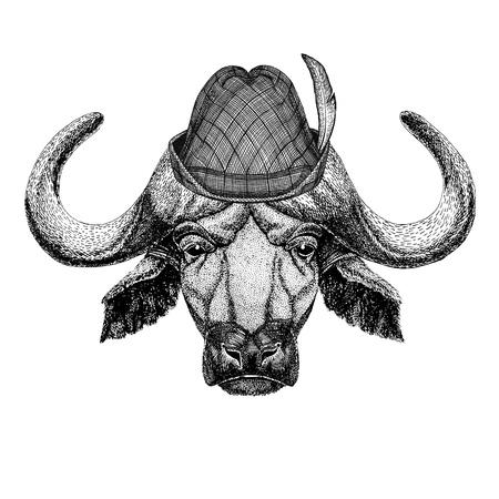 Buffalo, bull, ox Wild animal wearing tirol hat Oktoberfest autumn festival Beer fest illustration Bavarian beer festival