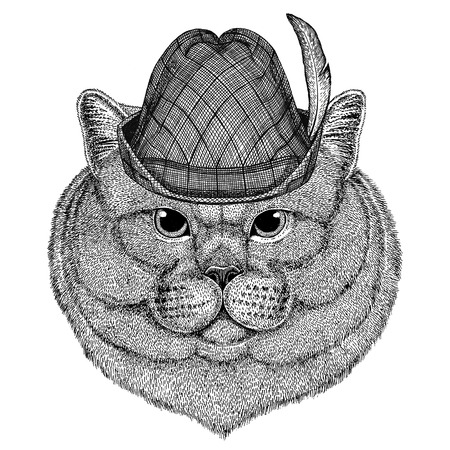 Brithish noble cat Male Wild animal wearing tirol hat Oktoberfest autumn festival Beer fest illustration Bavarian beer festival