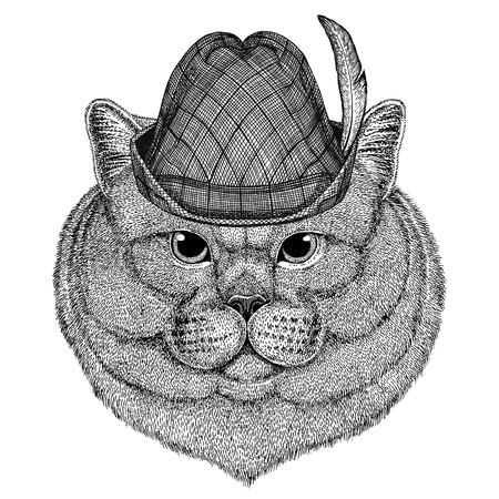 Brithish noble cat Male Wild animal wearing tirol hat Oktoberfest autumn festival Beer fest illustration Bavarian beer festival