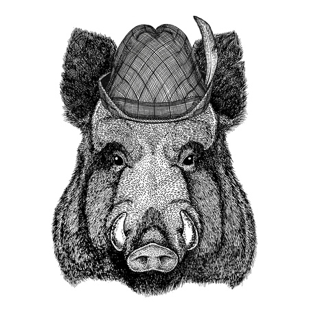 Aper, everzwijn, zwijn, zwijn, wild zwijn Wild animal wearing tirol hat Oktoberfest herfstfestival Beer fest illustration Beierse bierfestival Stockfoto