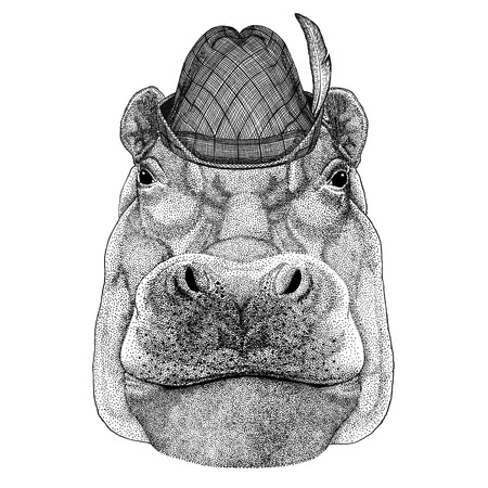Hippo, Hippopotamus, behemoth, river-horse Wild animal wearing tirol hat Oktoberfest autumn festival Beer fest illustration Bavarian beer festival