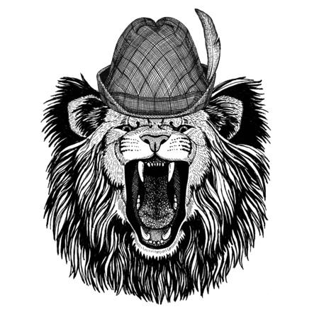 Lion Wild animal wearing tirol hat Oktoberfest autumn festival Beer fest illustration Bavarian beer festival