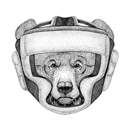 etiquetas de ropa: Oso grizzly Oso salvaje grande Boxer salvaje Animal del boxeo Deporte de la ilusión de la condición Animal salvaje que usa el casco del boxeador Protección del boxeo Imagen para la camiseta, el cartel, la bandera