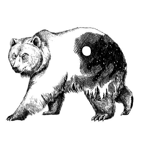 벡터 두 번 노출 문신 예술을 부담합니다. 캐나다. 산, 나침반. 브라운 베어 곰 회색 실루엣 t- 셔츠 디자인 관광 기호, 모험, 멋진 야외입니다. 일러스트
