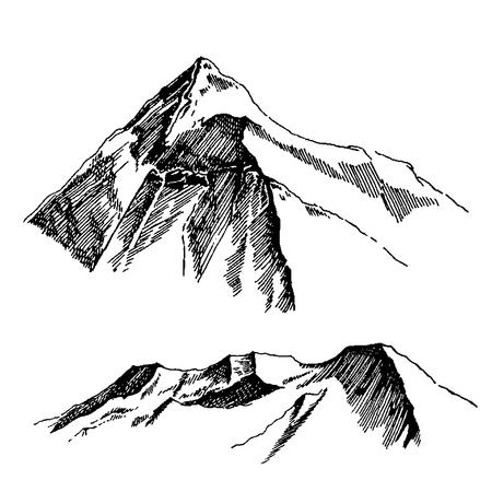 Wild nature Mountain North landscape Illustration