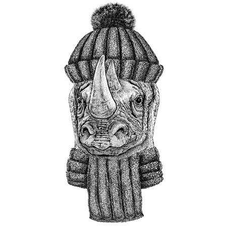 Rhinoceros, rhino wearing knitted hat and scarf