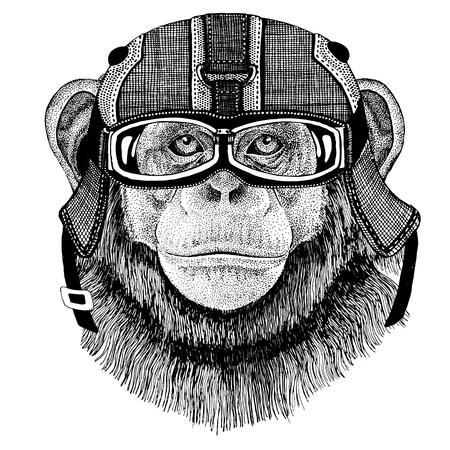 Chimpansee aap dragen motorhelm, vlieger helm illustratie voor t-shirt, patch, logo, badge, embleem, logo Fiets t-shirt met wilde dieren Stockfoto