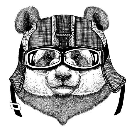 Panda bear, bamboo bear wearing motorcycle helmet, aviator helmet Illustration for t-shirt, patch, logo, badge, emblem, logotype Biker t-shirt with wild animal Foto de archivo