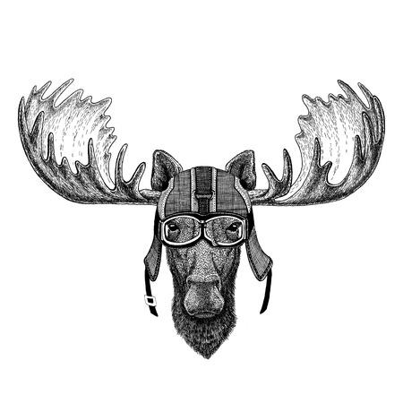 Moose, elk wearing motorcycle helmet, aviator helmet Illustration for t-shirt, patch, logo, badge, emblem, logotype Biker t-shirt with wild animal 写真素材