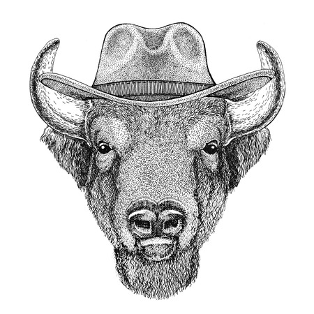Buffalo, bison,ox, bull Wild animal wearing cowboy hat Wild west animal Cowboy animal T-shirt, poster, banner, badge design