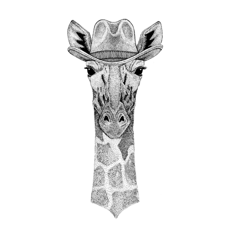 Camelopard, giraffe Wild animal wearing cowboy hat Wild west animal Cowboy animal T-shirt, poster, banner, badge design
