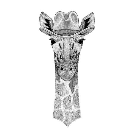 Camelopard, jirafa Animal salvaje que lleva el sombrero de vaquero Animal salvaje del oeste Animal del vaquero Camiseta, cartel, bandera, diseño de la insignia Foto de archivo - 81960146