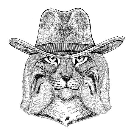 野生の猫 Lynx ボブキャット トロット野生動物着てカウボーイ ハット ワイルドウェスト動物カウボーイ動物 t シャツ、ポスター、バナー、バッジの