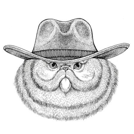 솜 털 persian 고양이의 초상화 카우보이 모자를 쓰고 야생 동물 와일드 웨스트 동물 카우보이 동물 t- 셔츠, 포스터, 배너, 배지 디자인