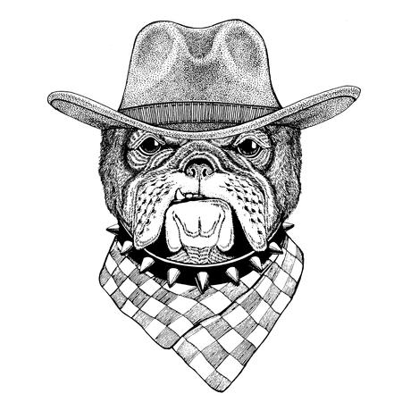 불독 야생 동물 카우보이 모자를 쓰고 와일드 웨스트 동물 카우보이 동물 티셔츠, 포스터, 배너, 배지 디자인