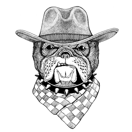Bulldog Wild animal wearing cowboy hat Wild west animal Cowboy animal T-shirt, poster, banner, badge design