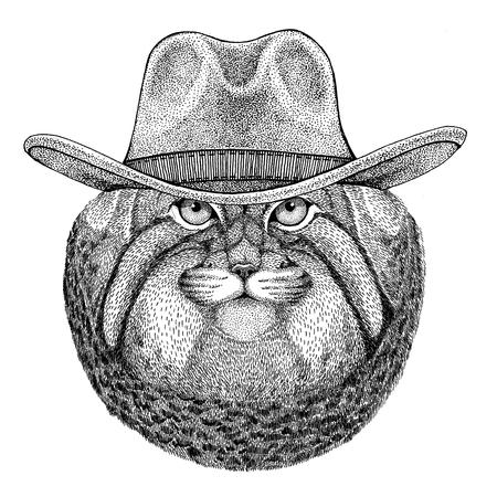 Wild cat Manul Wild animal wearing cowboy hat Wild west animal Cowboy animal T-shirt, poster, banner, badge design
