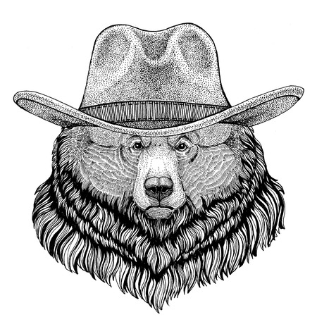 Grizzly bear Big wild bear Wild animal wearing cowboy hat Wild west animal Cowboy animal T-shirt, poster, banner, badge design Stock Photo - 81960284