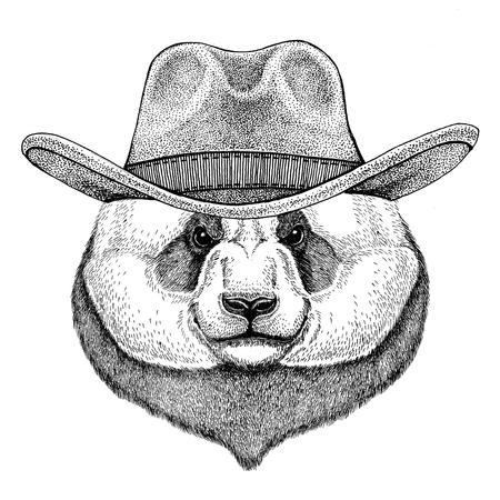 Wild animal wearing cowboy hat Wild west animal Cowboy animal T-shirt, poster, banner, badge design Stock fotó