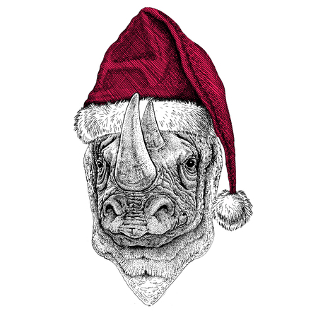 Rhinoceros, rhino Christmas illustration Wild animal wearing christmas santa claus hat Red winter hat Holiday picture Happy new year
