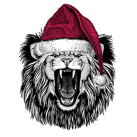 Leão Ilustração do Natal Animal selvagem vestindo chapéu de natal Papai Noel Chapéu de inverno vermelho Foto do feriado Feliz ano novo