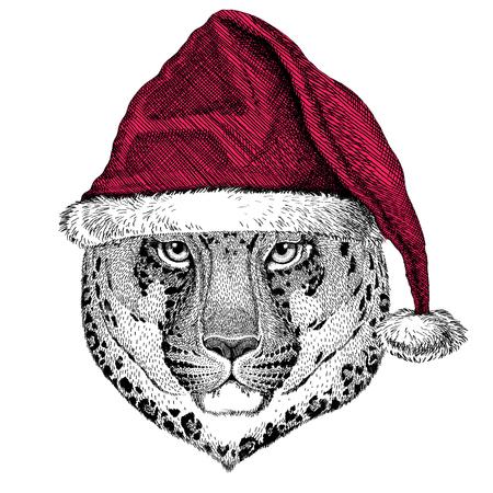Weihnachten illustration Wildtier tragen Weihnachten Santa Claus Hut Red Winter Hut Urlaub Bild Happy New Year Standard-Bild - 81962057