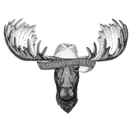 Moose, elk Wild animal wearing sombrero Mexico Fiesta Mexican party illustration Wild west Stock fotó