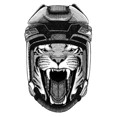 ホッケー ヘルメット スポーツ動物冬スポーツ ホッケー スポーツを身に着けている野生のトラ ホッケー イメージ野生動物