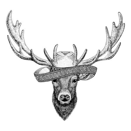 鹿野生動物身に着けているソンブレロ メキシコ フィエスタ メキシコ パーティー野生の西の図
