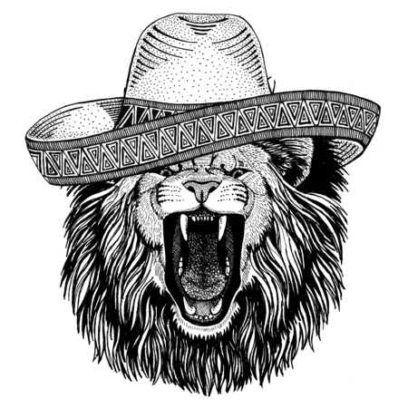 Lion Wild animal wearing sombrero Mexico Fiesta Mexican party illustration Wild west Фото со стока