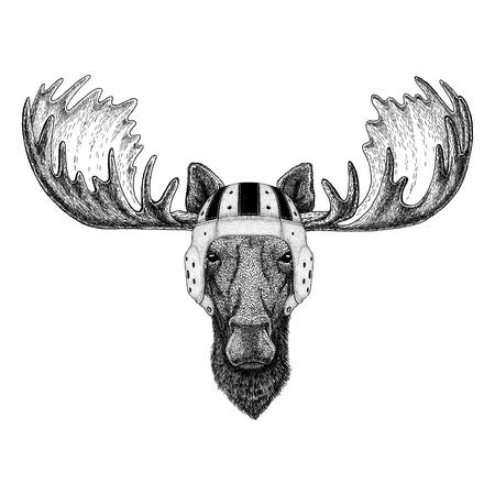 Moose, elk Wild animal wearing rugby helmet Sport illustration