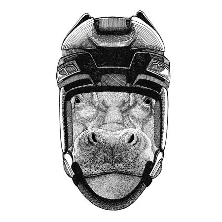 behemoth: Hippo, Hippopotamus, behemoth, river-horse Hockey image Wild animal wearing hockey helmet Sport animal Winter sport Hockey sport