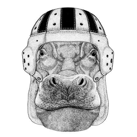 Hippo, Hippopotamus, behemoth, river-horse Wild animal wearing rugby helmet Sport illustration Reklamní fotografie - 82005309