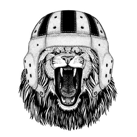 Lion Wild animal wearing rugby helmet Sport illustration Stock fotó