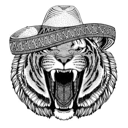 野生のトラ野生動物身に着けているソンブレロ メキシコ フィエスタ メキシコ パーティー野生の西の図 写真素材