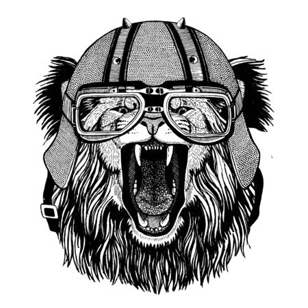 バイク ヘルメット動物革ヘルメット ビンテージ ヘルメット自転車フライト ヘルメットの身に着けているライオン