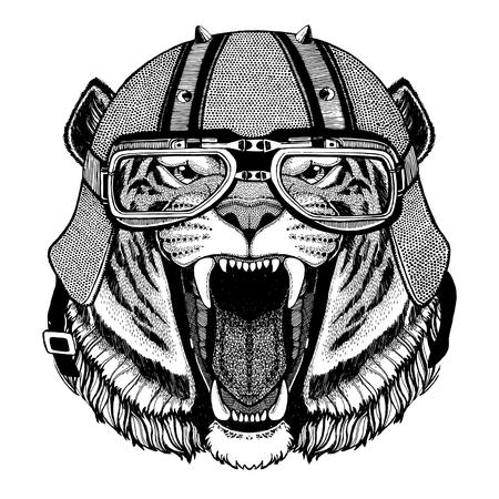 バイク ヘルメット動物革ヘルメット ビンテージ ヘルメット自転車フライト ヘルメットの身に着けている野生のトラ