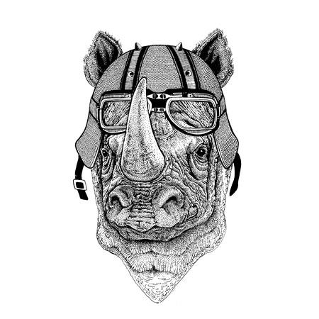 Rhinoceros, rhino wearing biker helmet Animal with motorcycle leather helmet Vintage helmet for bikers Aviator helmet