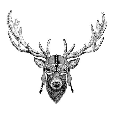 鹿オートバイ、バイクに乗る人、パイロット、飛行クラブの図のタトゥー、t シャツ、エンブレム、バッジ、ロゴ、パッチ