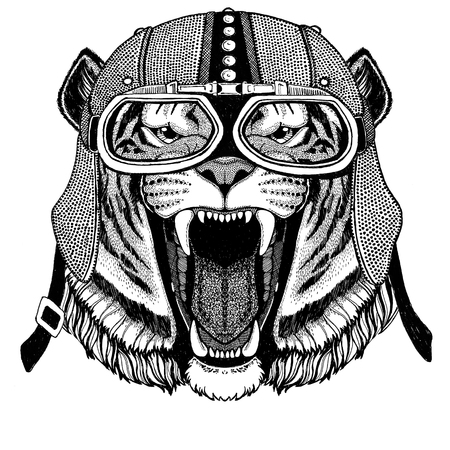 Wild tiger Motorcycle, biker, aviator, fly club Illustration for tattoo, t-shirt, emblem, badge, logo, patch