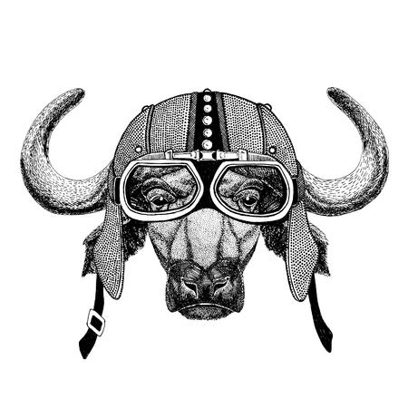 Buffalo, bull, ox Motorcycle, biker, aviator, fly club Illustration for tattoo, t-shirt, emblem, badge, logo, patch Stock Photo