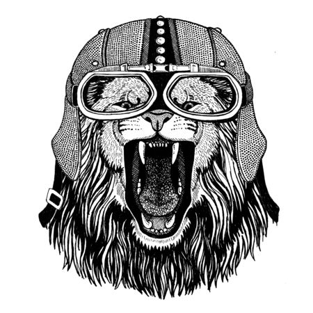 Lion Motorcycle, biker, aviator, fly club Illustration for tattoo, t-shirt, emblem, badge, logo, patch Stok Fotoğraf