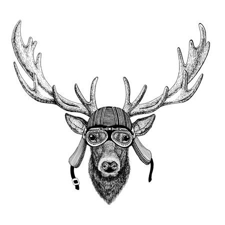 Deer Wild animal wearing biker motorcycle aviator fly club helmet Illustration for tattoo, emblem, badge, logo, patch