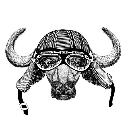 Buffalo, bull, ox Wild animal wearing biker motorcycle aviator fly club helmet Illustration for tattoo, emblem, badge, logo, patch Banco de Imagens