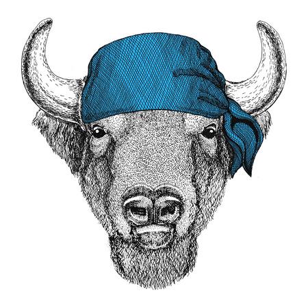 Buffalo, bison,ox, bull Wild animal wearing bandana or kerchief or bandanna Image for Pirate Seaman Sailor Biker Motorcycle